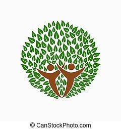 助け, 人々, シンボル, 木, 共同体, 緑, チーム