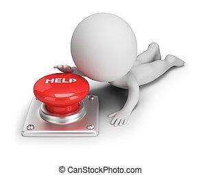 助け, 人々, ボタン, -, 小さい, 3d