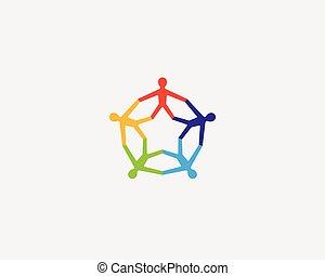 助け, 人々, logotype., 共同体, ベクトル, チームワーク, 社会, ロゴ, 心配
