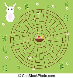 助け, 卵, theme., うさぎ, fairytales, ゲーム, 方法, children., 迷路, イースター, ファインド