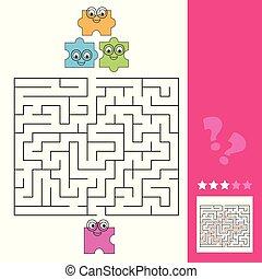 助け, 困惑, 困惑, ゲーム, 方法, 答え, 迷路, 小片, 子供, ファインド