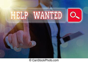 助け, 執筆, wanted., 場所, ビジネス, 雇用者, 新しい, ペーパー, 概念, テキスト, 広告, ファインド, 手, 提示, 写真, employee.
