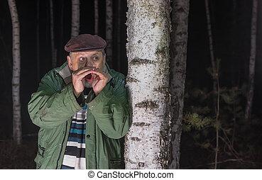 助け, 失われた, 呼出し, 森林, 年長 人