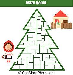 助け, 家, children:, theme., fairytales, ゲーム, 赤, 方法, 迷路, 乗馬, ファインド, フード