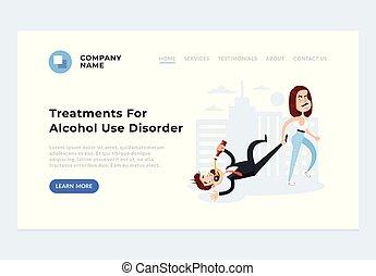 助け, 濫用, concept., ベクトル, problems., アルコール中毒患者, デザイン, アルコール, 漫画, 習慣, 平ら, イラスト, 待遇, グラフィック