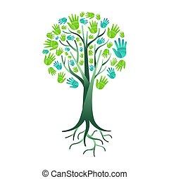 助け, 自然, 木, 手, 環境, 緑