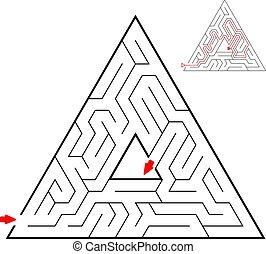 助け, 迷路, 子供, puzzle., 三角, バックグラウンド。, ゲーム, 黒, kids., 方法, 白, maze., ファインド, アウト。