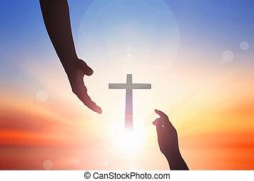 助け, concept:, 世界, 日没, 手, 背景, 平和, 日, 助力, イエス・キリスト