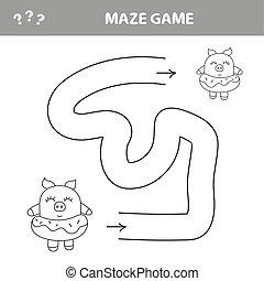 助け, labyrinth., イラスト, ゲーム, ベクトル, 小豚, 迷路, path., ファインド, kids.