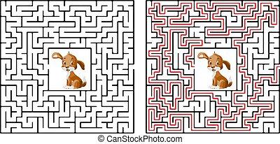 助け, solutio, 困惑, 埋められる, 迷路, 彼の, かわいい, ゲーム, ファインド, 骨, 犬, s