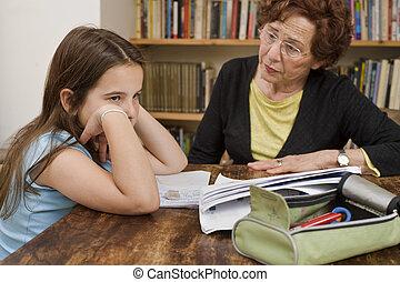 助力, シニア, 宿題, 子供
