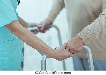 助力, 不具, 看護婦, 女性, 年配