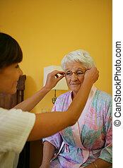 助力, 女性女性, 古い, メガネ