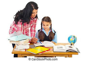 助力, 女生徒, 宿題, 母