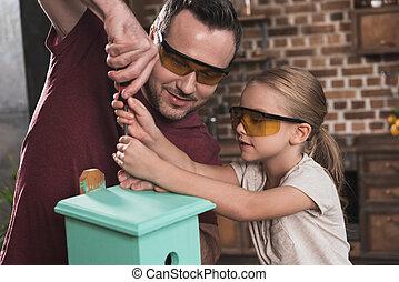 助力, 娘, 作りなさい, 父, birdhouse