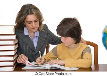 助力, 子供, 宿題, 彼女, 母