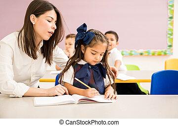 助力, 学生, assigment, 教師