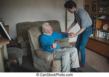 助力, 家, 彼の, ティーネージャー, 祖父