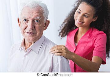 助力, 年長 人, 手