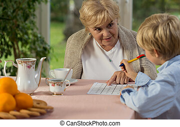助力, 彼の, 孫, おばあさん