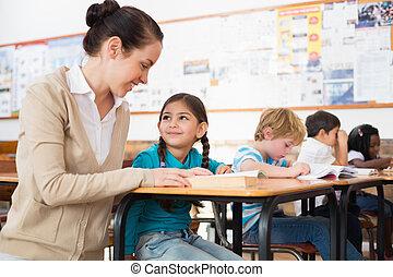 助力, 教師, かなり, 生徒