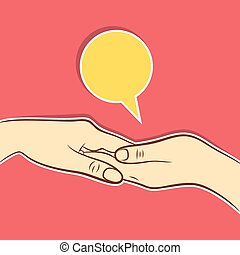 助力, 概念, デザイン, 手