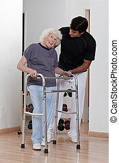 助力, 歩行者, 使用, セラピスト, 患者