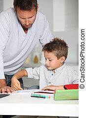 助力, 父, 宿題, 息子