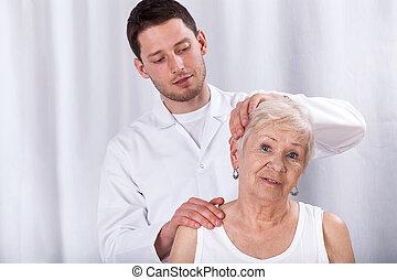 助力, 物理療法家, 患者, 首, 痛み