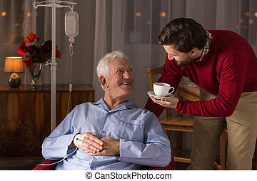 助力, 病気, 人, 父, シーッという音