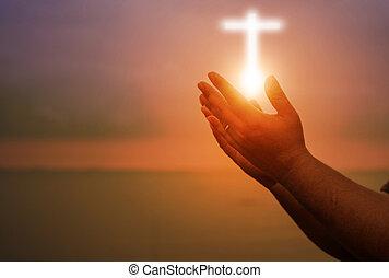 助力, 神, やし, 手, 人間, 療法, pray., 概念, カトリック教, 貸された, 開いた, キリスト教徒, eucharist, worship., の上, イースター, 勝利, repent, 宗教, 心, 祝福しなさい, 戦い, バックグラウンド。