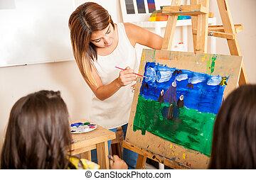 助力, 芸術, 教師, 学生