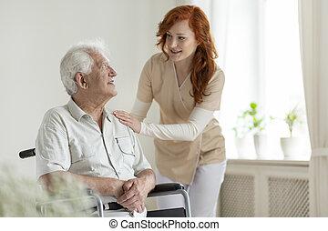助力, 車椅子, 不具, シニア, 世話人, 微笑の人