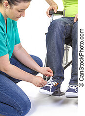 助力, 車椅子, 若い, 不具, 看護婦, 人