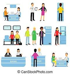 助言する, 平ら, 別, 人々, お金, 従業員, モデル, situations., 顧客, 得ること, atm., ベクトル, クライアント, 列, コンサルタント, デザイン, 銀行, 人