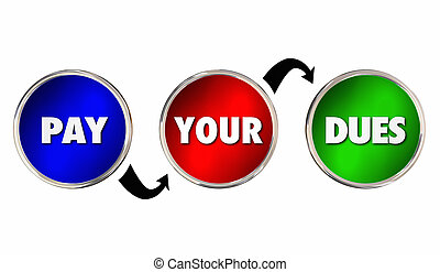 努力, 得到, 支付, 建議, 工作經驗, 你, 插圖, dues, 3d