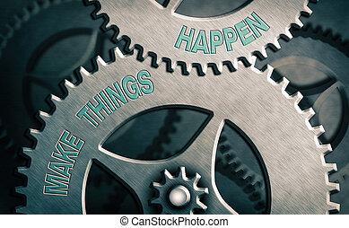 努力, 持ちなさい, 概念, happen., あなた, テキスト, 順序, 印, 目的を達しなさい, 提示, 作りなさい, 懸命に, it., 意志, 写真, もの