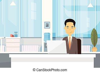労働者のオフィス, ビジネス, モデル, ラップトップ・コンピュータ, アジア人, 机, 人