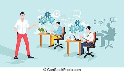 労働者のオフィス, ビジネス 人々, プログラマー, 仕事場, チーム