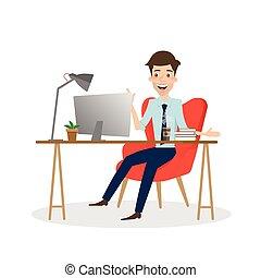 労働者のオフィス, ビジネス, desk., コンピュータ, 人