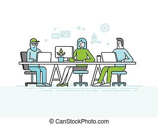 労働者のオフィス, 人々, コンピュータ, -, スペース, 創造的, coworking, チーム