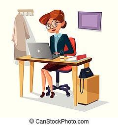 労働者のオフィス, 女性実業家, ラップトップ, 現代, イラスト, 自信があるマネージャー, ベクトル, 机, テーブル, 女の子, 漫画