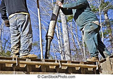 労働者, たたきつける, コンクリート, に, 基礎