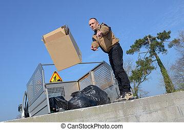 労働者, の, 市の, リサイクル, ごみ収集人, トラックのローディング, 無駄