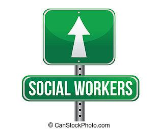 労働者, イラスト, 印, デザイン, 社会, 道