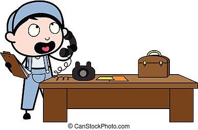 労働者, -, イラスト, 持つこと, 会話, ベクトル, 呼出し, レトロ, 修理人, 漫画
