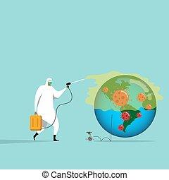 労働者, ウイルス, 細菌, 制御, 得ること, coronavirus, 殺菌剤, フルである, 装置, のまわり, スプレーをかける, 医学, 個人的, rid, covid-19, 世界, 病気, pathogen, 保護, 試み, 広がり