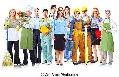 労働者, グループ, 人々。