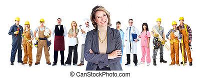労働者, グループ, 人々。, ビジネス