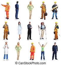 労働者, グループ, set., 人々